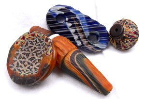 South Dakota Trade Beads - Wire wrap cab, blown bicone, Konnie buckle and blown button ended squat bead